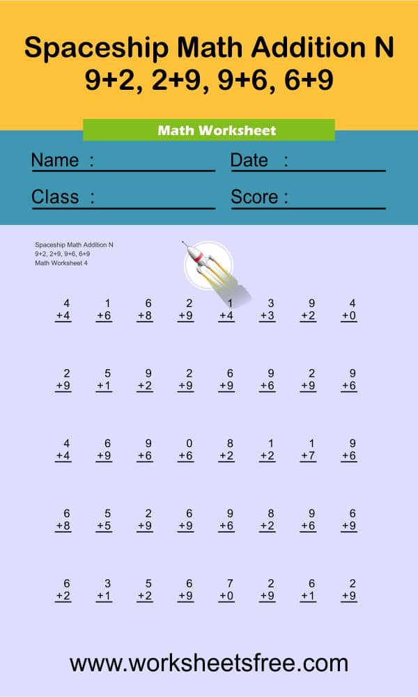 Spaceship Math Addition N 4