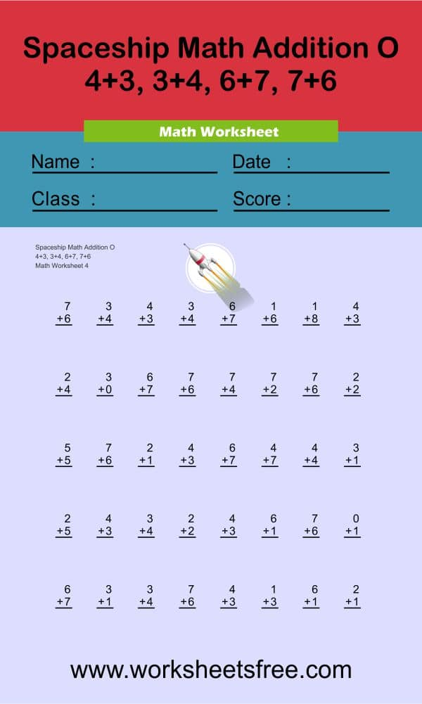 Spaceship Math Addition O 4