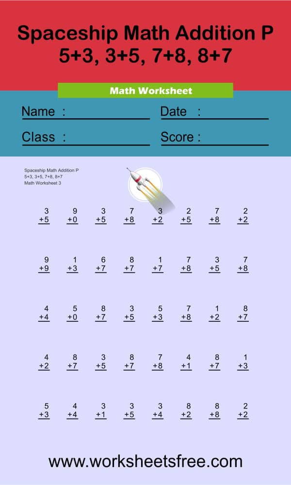 Spaceship Math Addition P 3