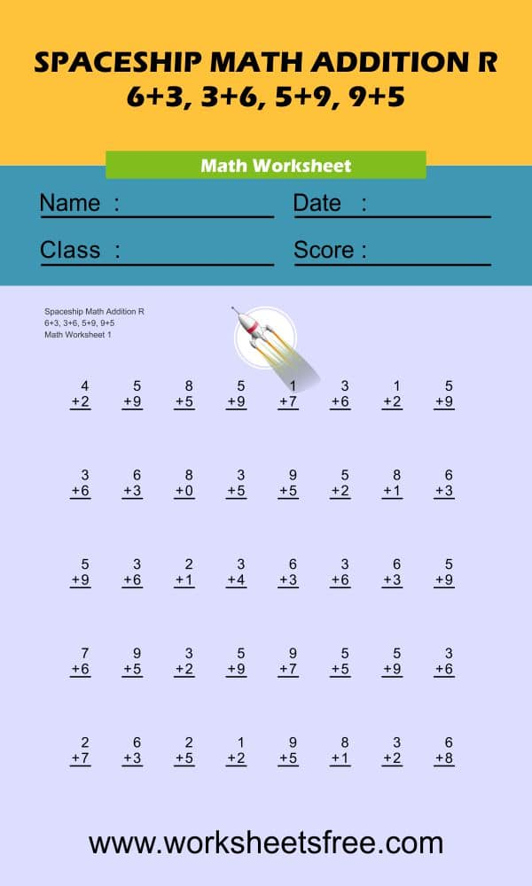 Spaceship Math Addition R 1