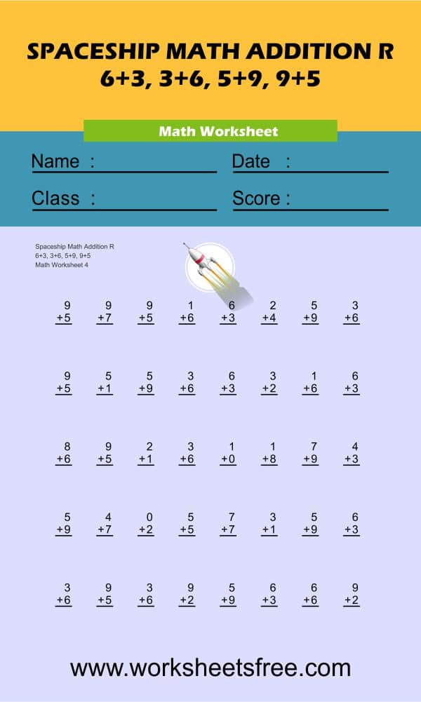 Spaceship Math Addition R 4