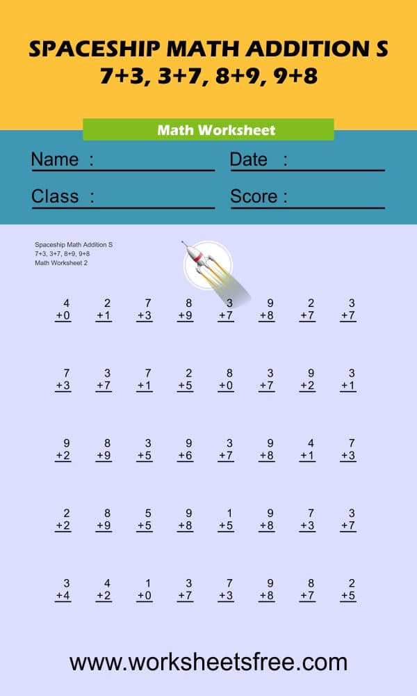 Spaceship Math Addition S 2