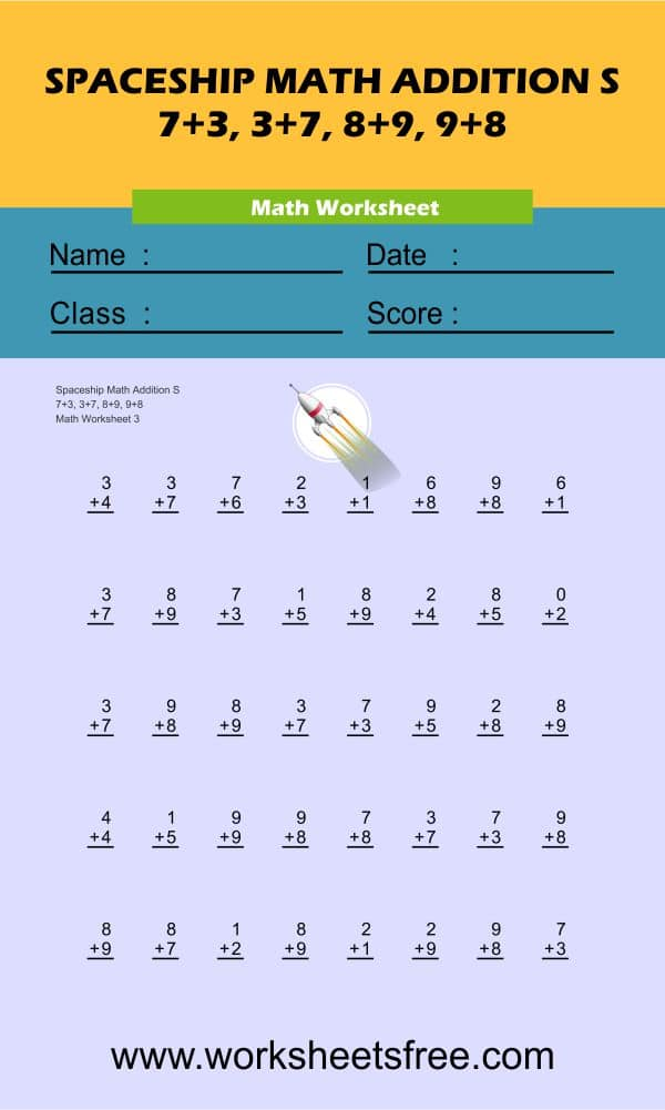 Spaceship Math Addition S 3