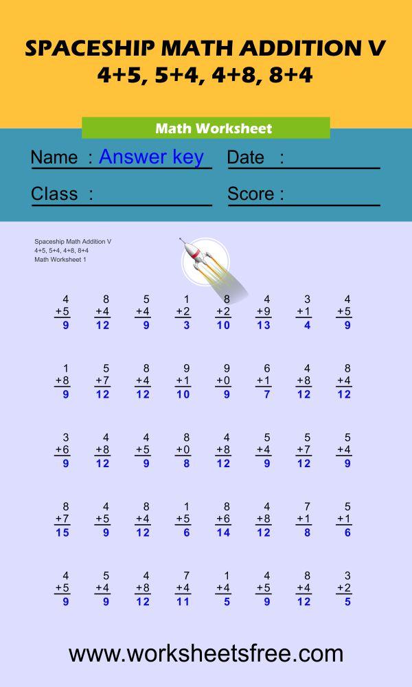 Spaceship Math Addition V 1 + answer