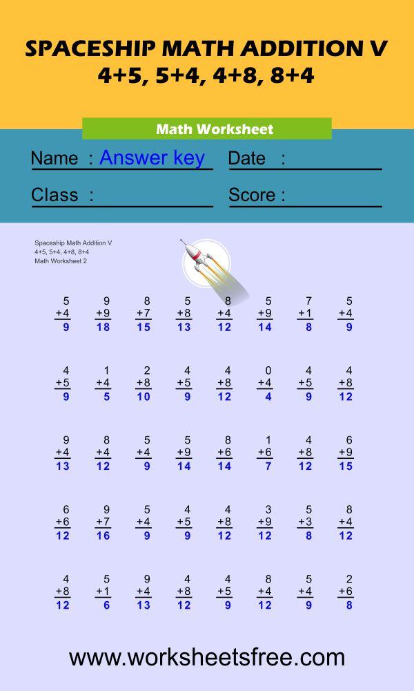 Spaceship Math Addition V 2 + answer