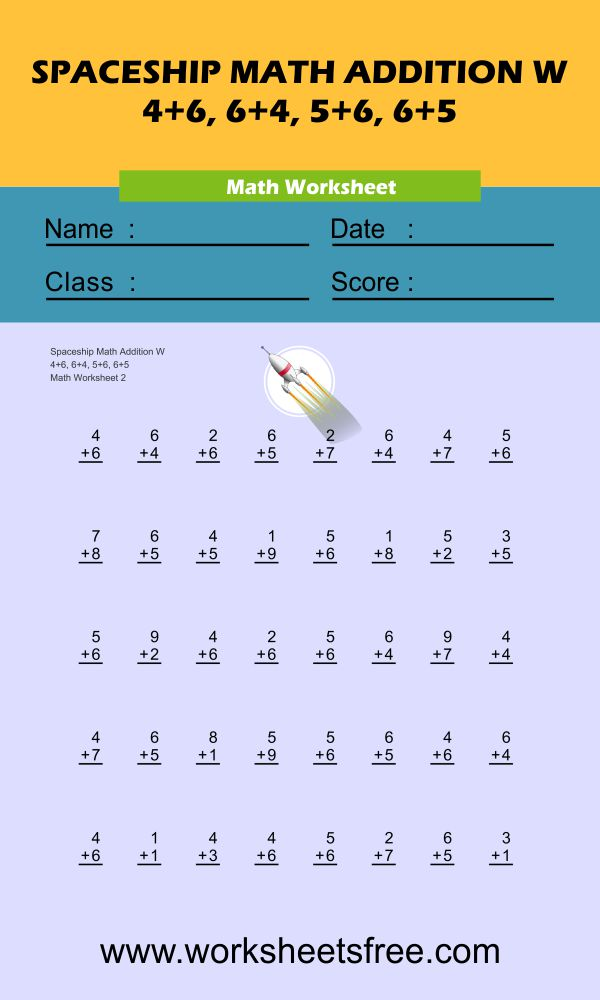 Spaceship Math Addition W 2
