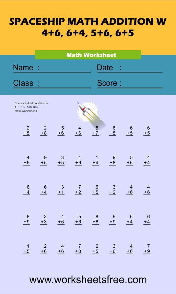 Spaceship Math Addition W 4