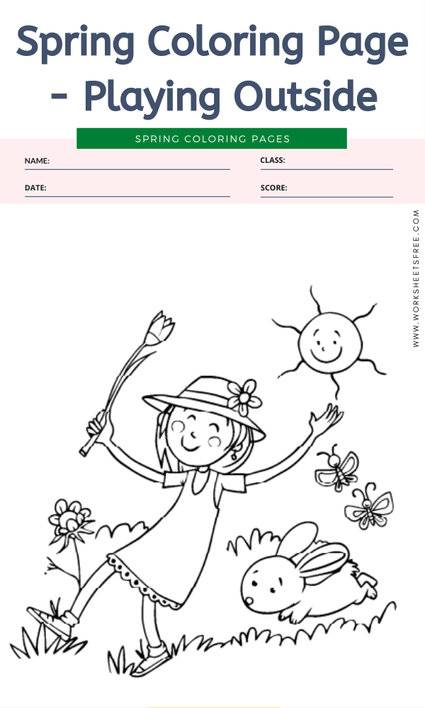 Spring Coloring Page - Playing Outside