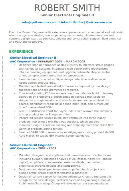 Sr Electrical Engineer Resume Example 2