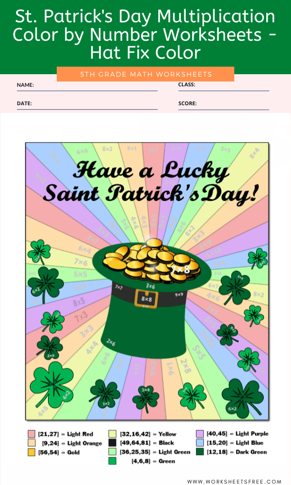 St. Patrick's Day Multiplication Color by Number Worksheets - Hat Fix Color