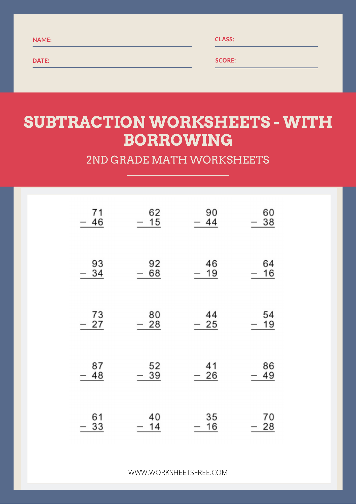 hight resolution of Subtraction With Borrowing Worksheet 2   Worksheets Free