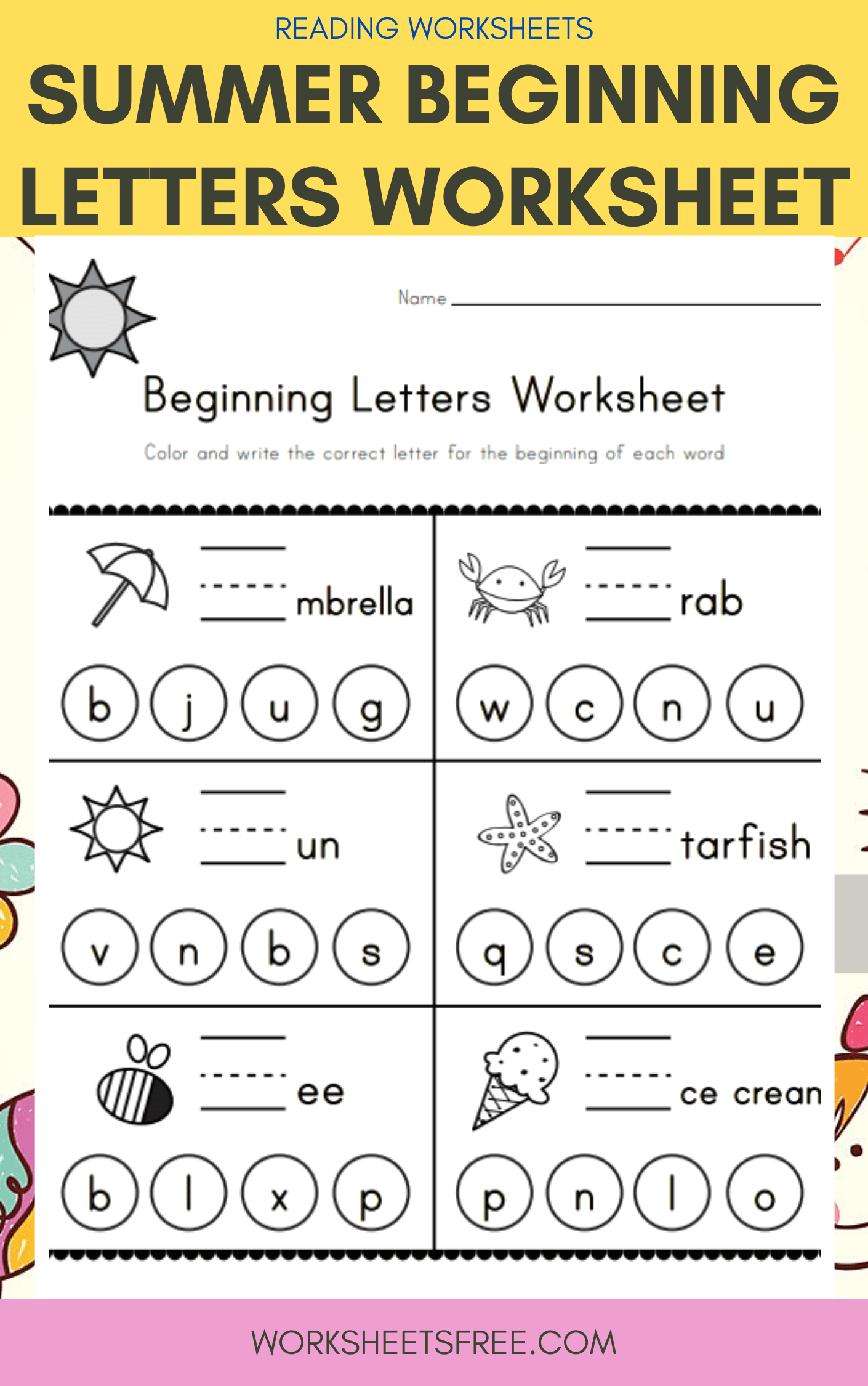 Summer Beginning Letters Worksheet