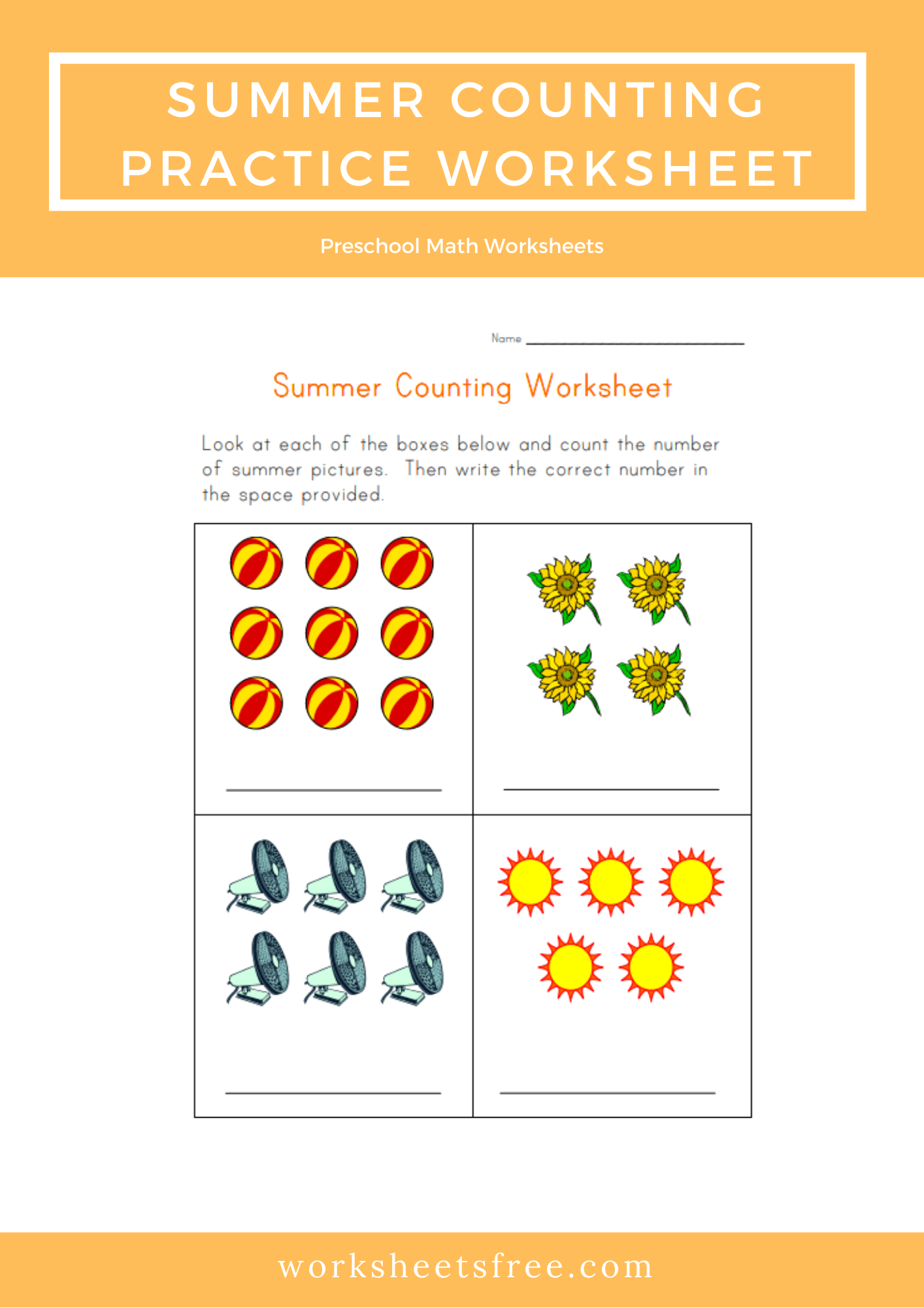 Summer Counting Practice Worksheet