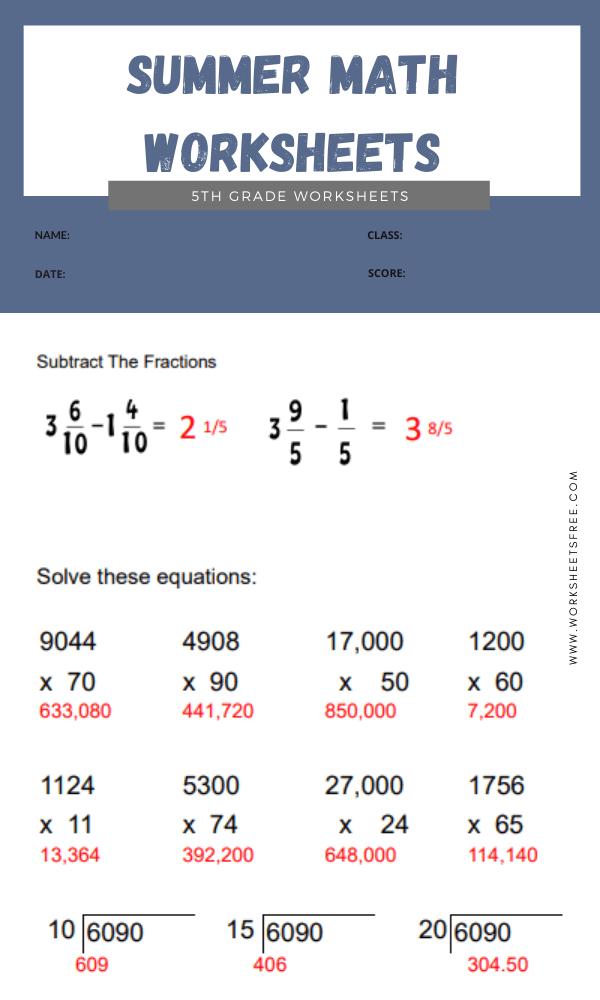 Summer Math Worksheets 5th Grade answer 6