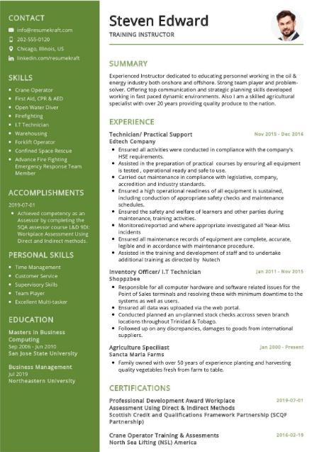 Training Instructor Resume Sample 1