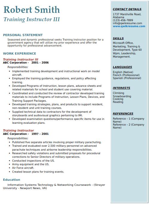 Training Instructor Resume Sample 3