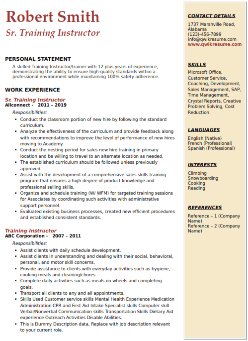 Training Instructor Resume Sample 4