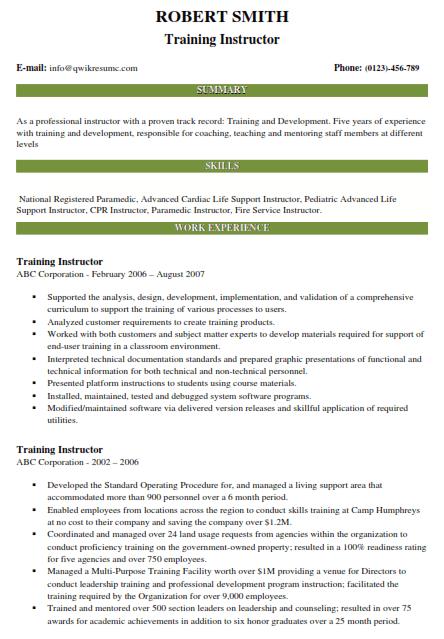 Training Instructor Resume Sample 5