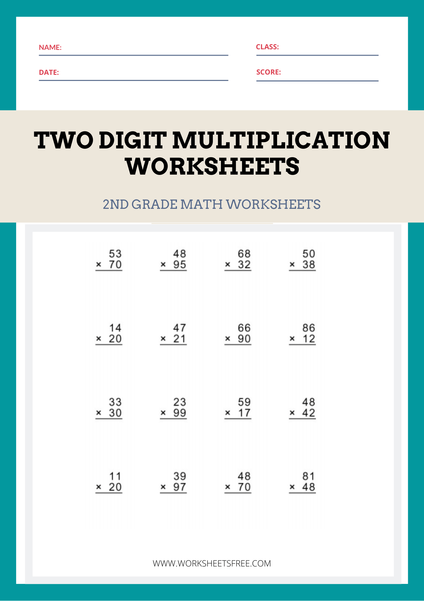 Two-Digit-Multiplication-Worksheets   Worksheets Free [ 2000 x 1414 Pixel ]