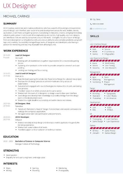 UX Designer Resume Sample 3
