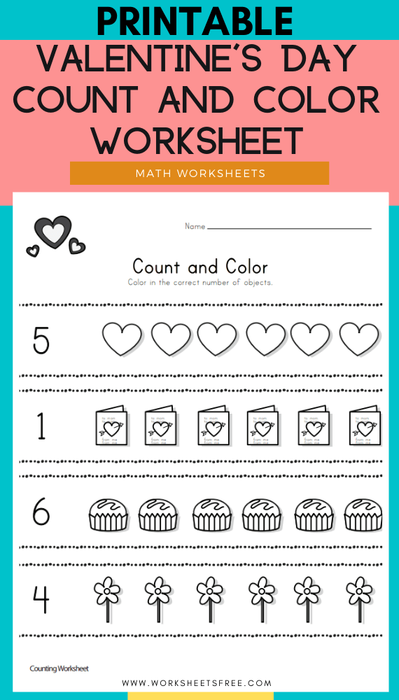Valentine's Day Count and Color Worksheet