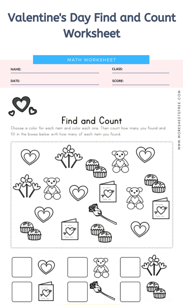 Valentine's Day Find and Count Worksheet