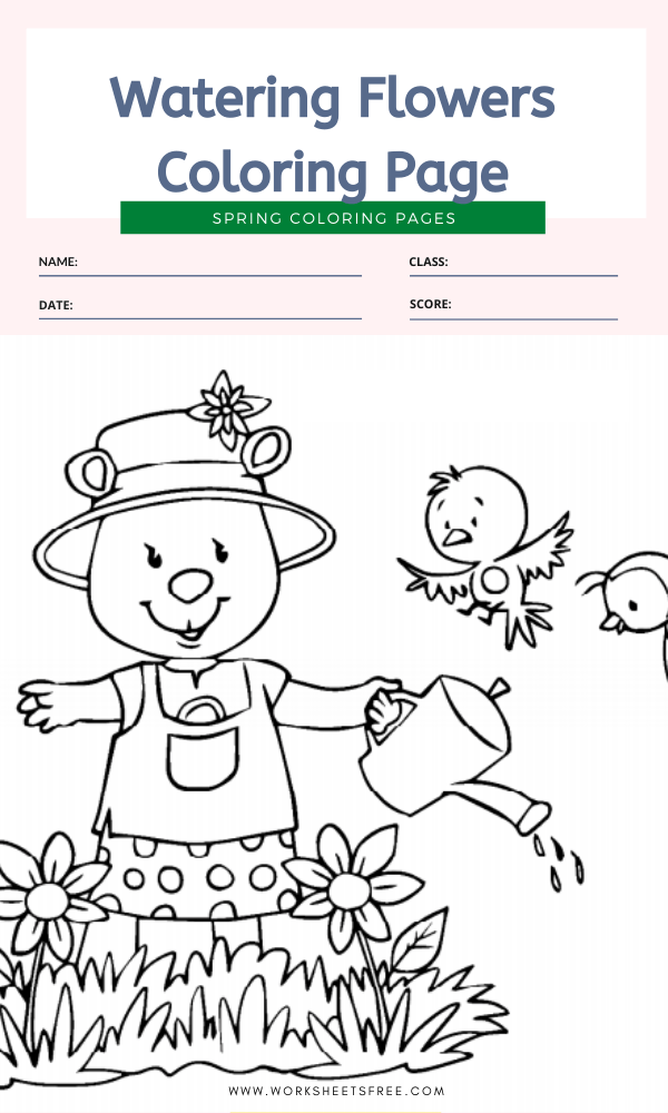Watering Flowers Coloring Page