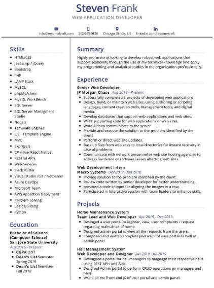 Web Application Developer Resume 1
