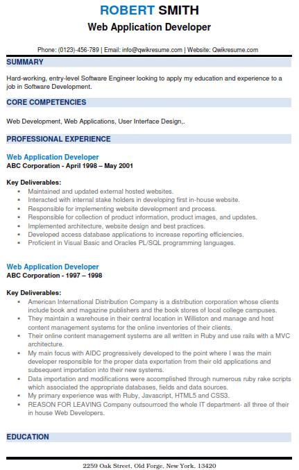 Web Application Developer Resume 2