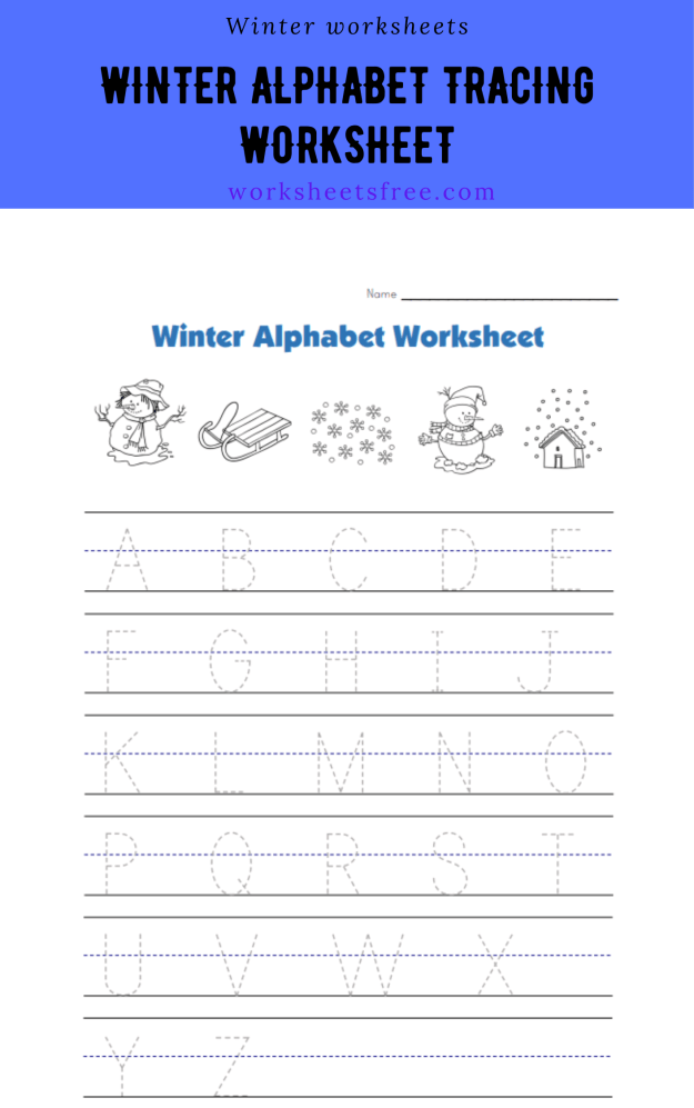 Winter Alphabet Tracing Worksheet