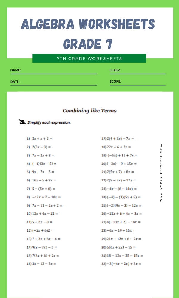 algebra worksheets grade 7 13