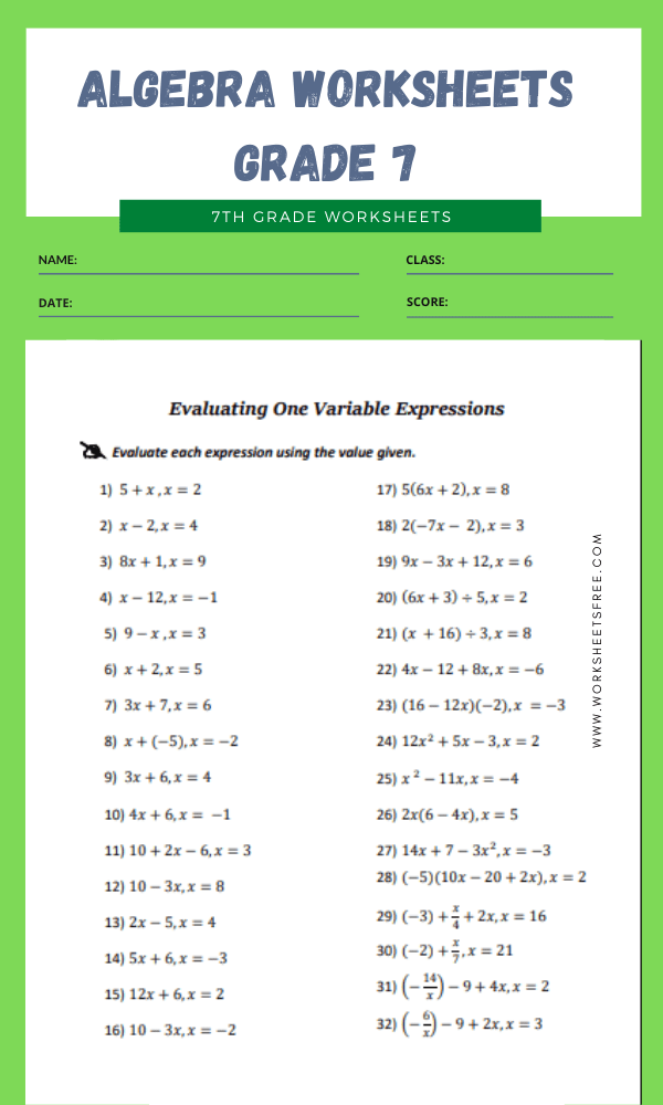 algebra worksheets grade 7 9
