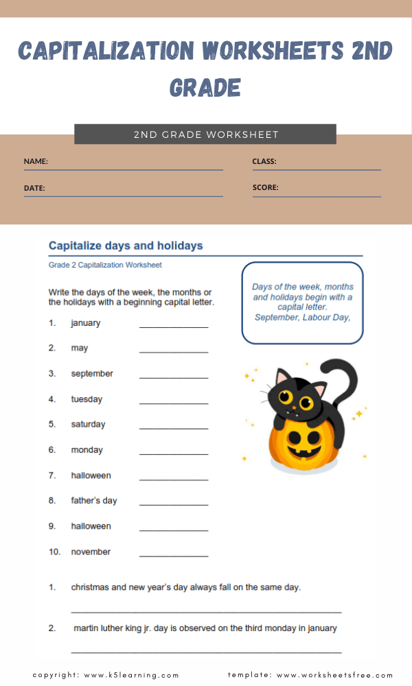 capitalization worksheets 2nd grade 2