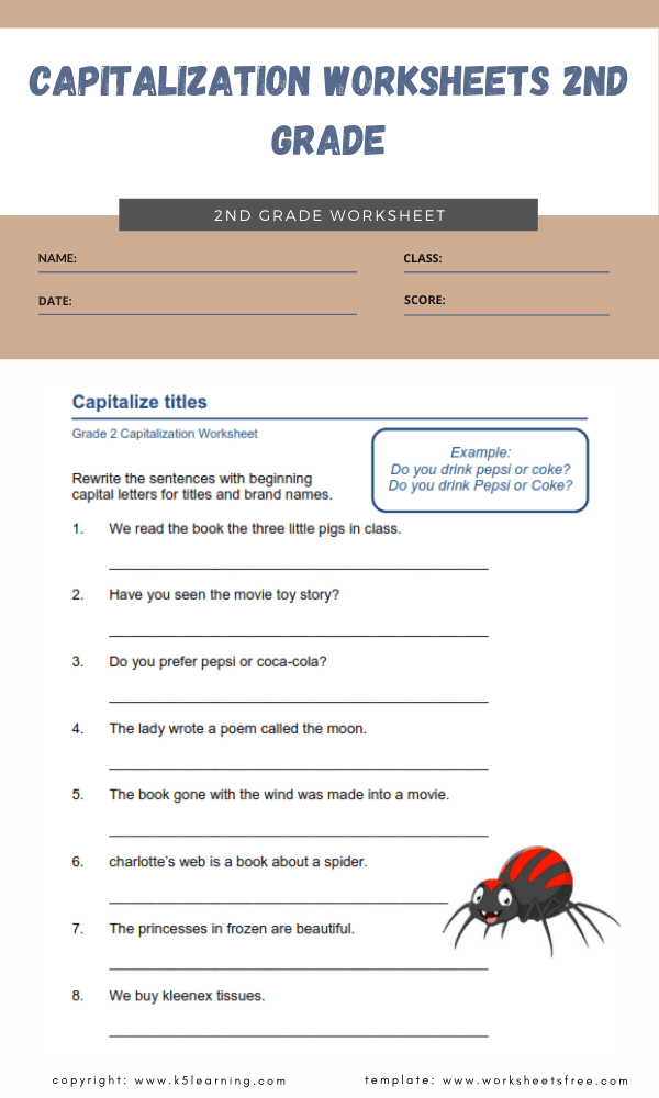 capitalization worksheets 2nd grade 3