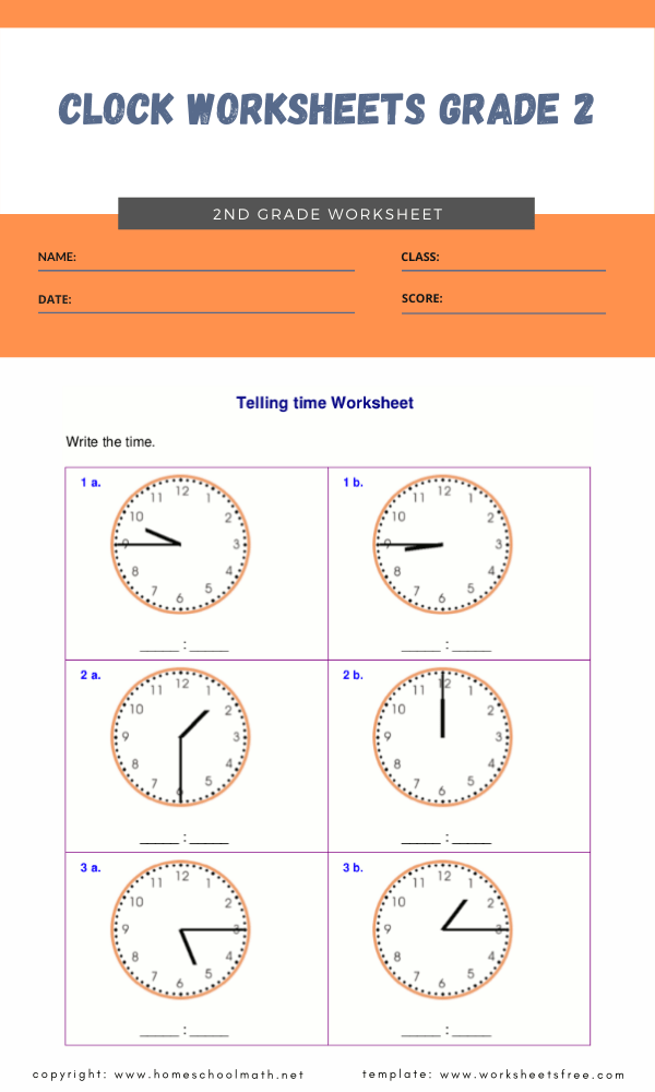 clock worksheets grade 2 1