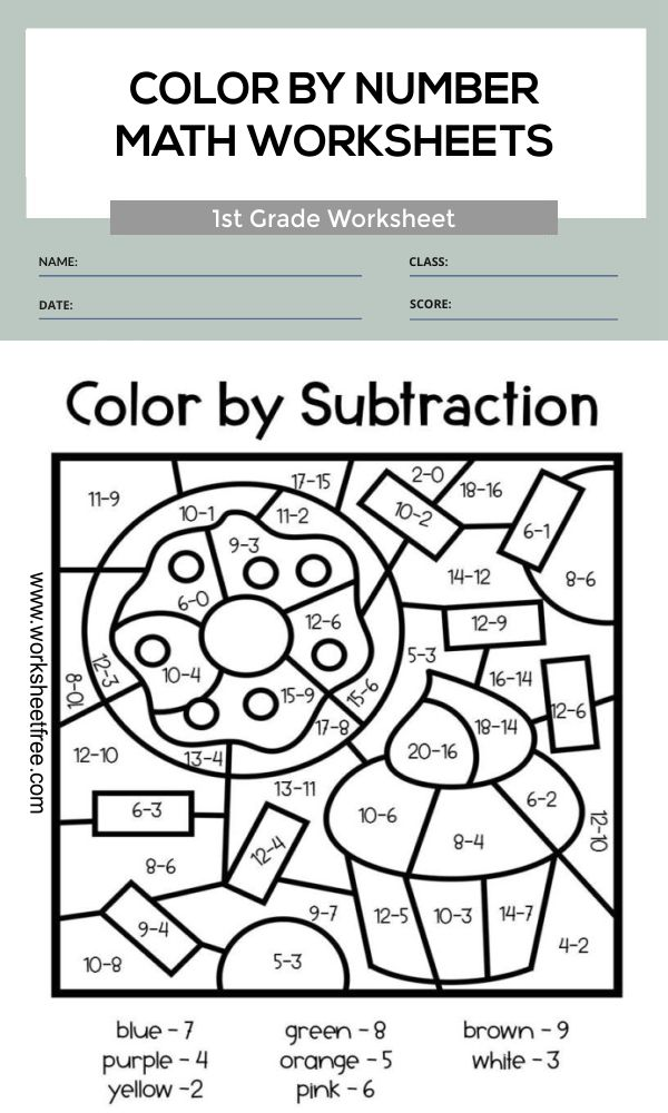 color by number math worksheets 1st grade 3