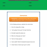 contractions worksheet 3rd grade 5