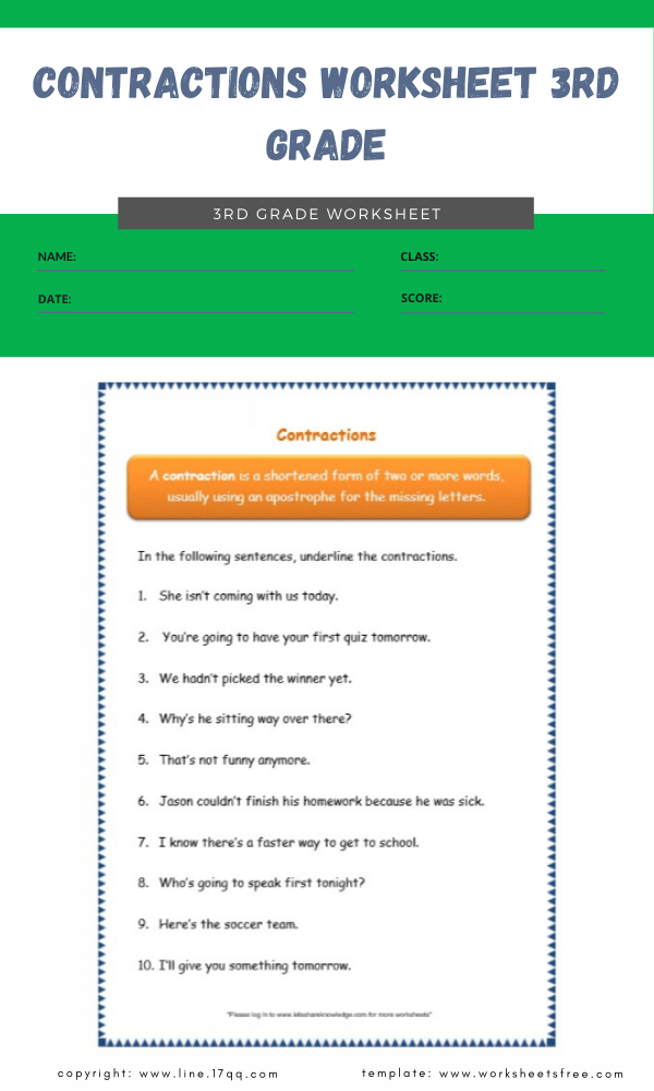 contractions worksheet 3rd grade 5