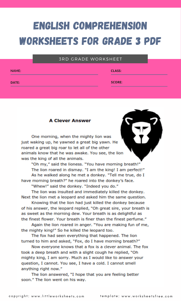 english comprehension worksheets for grade 3 pdf 1