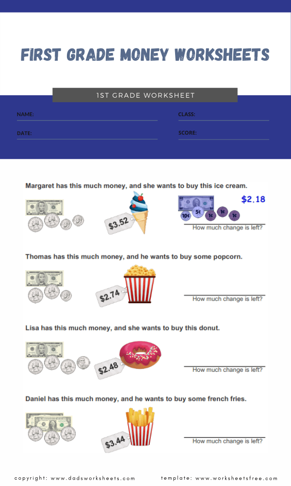 first grade money worksheets 3