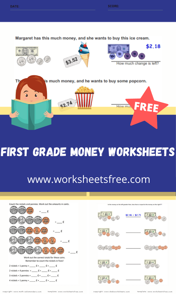first grade money worksheets