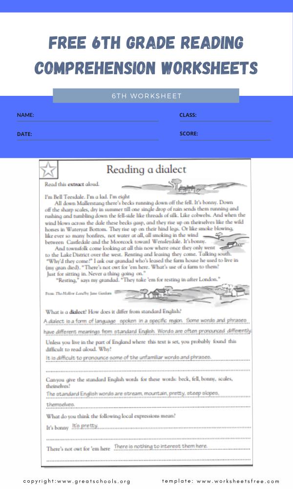free 6th grade reading comprehension worksheets 3