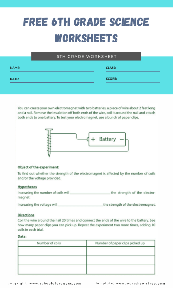 free 6th grade science worksheets 2