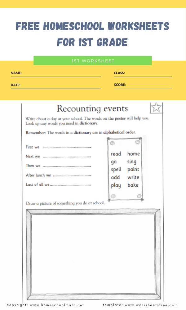 free homeschool worksheets for 1st grade 2