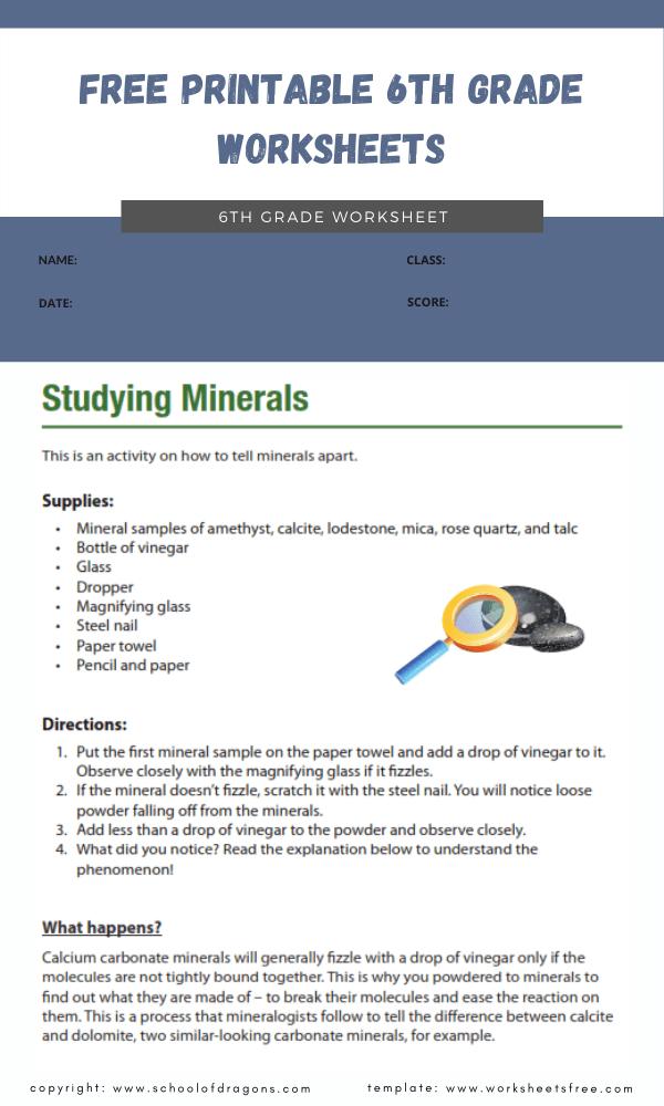 free printable 6th grade worksheets 1