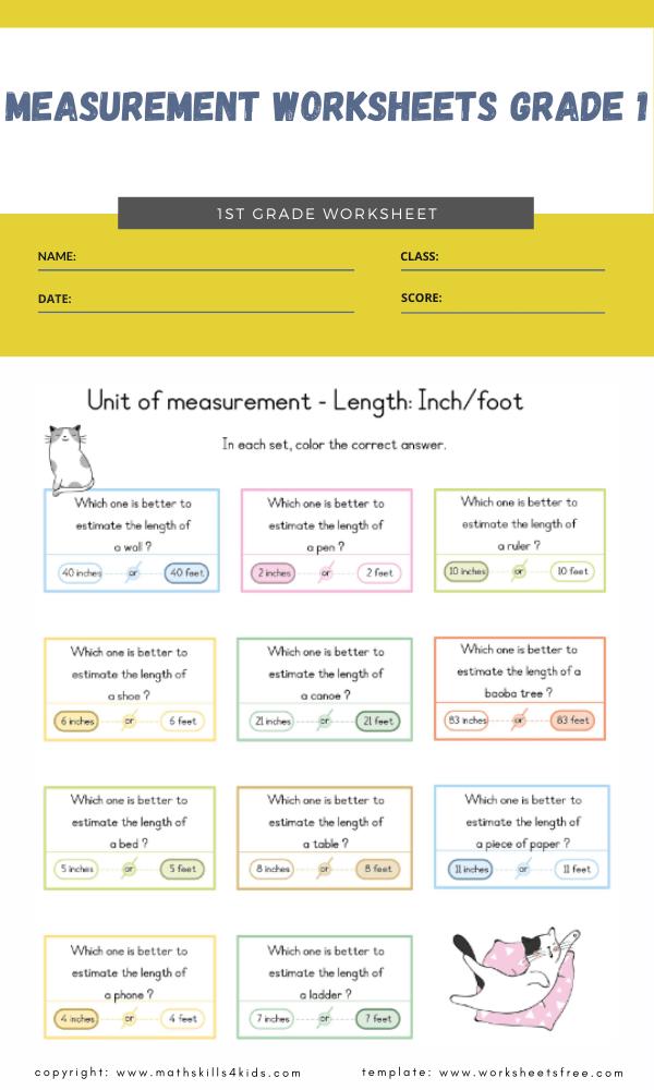 measurement worksheets grade 1 5