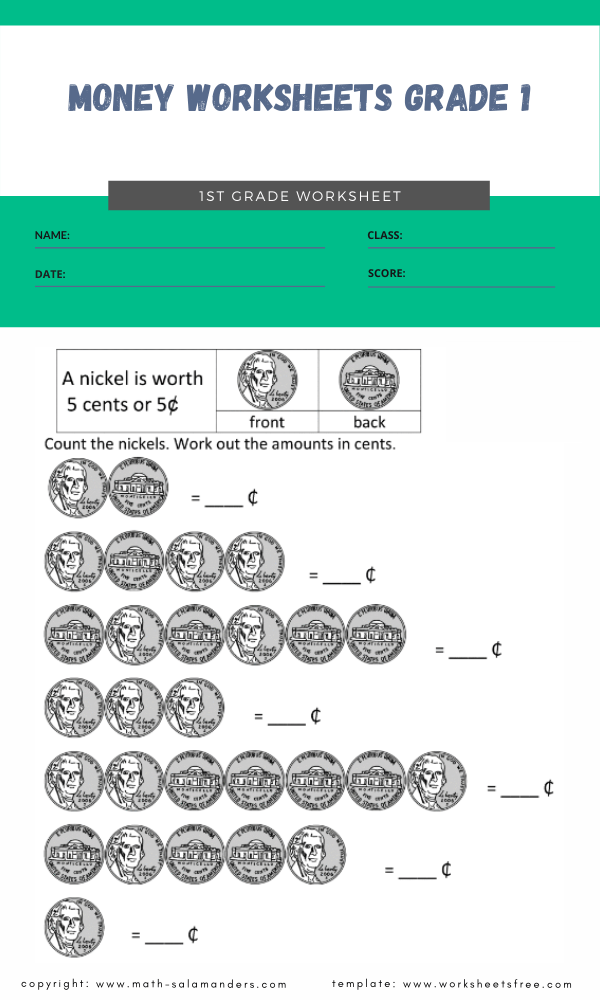 money worksheets grade 1 4