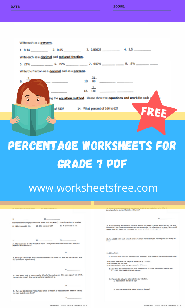 percentage worksheets for grade 7 pdf