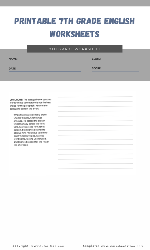 printable 7th grade english worksheets 2