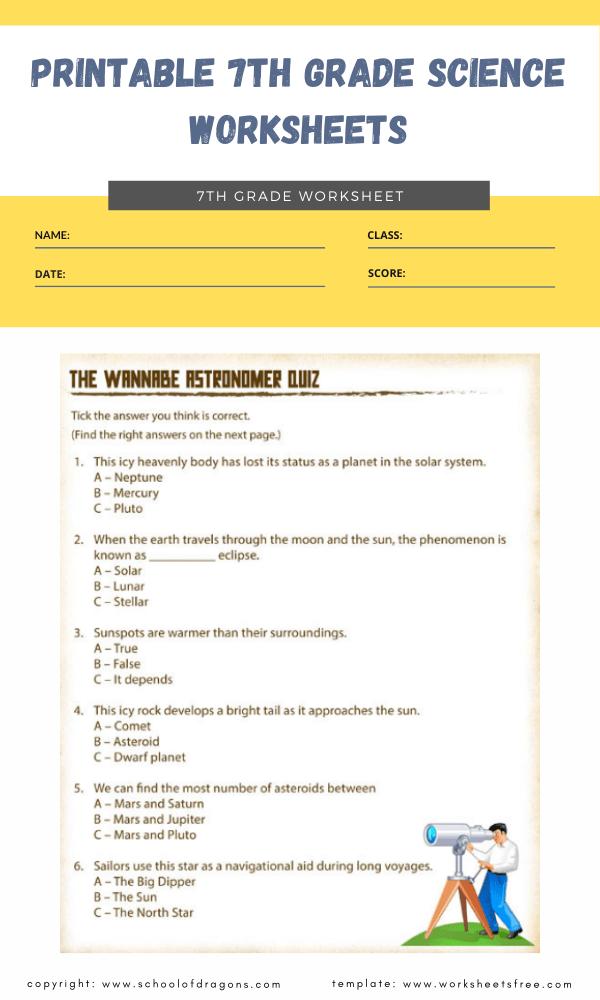 printable 7th grade science worksheets 1